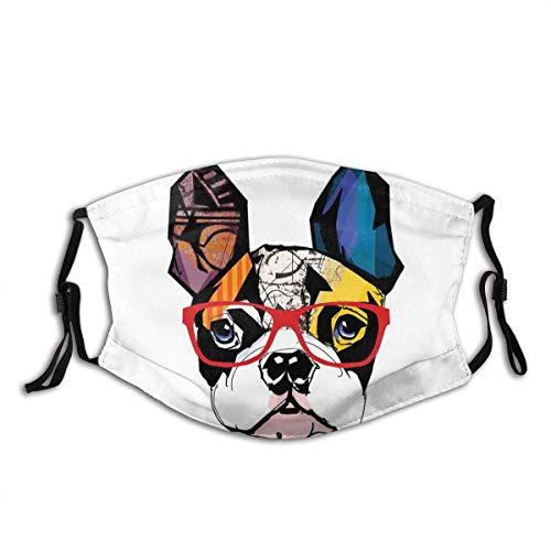 Gesicht Schal Gesicht M Fragen mit 2 Filter Französisch Bulldogge Porträt mit Hispter Brille Zusammenfassung Moderne Bunte Ohren und Augen Staub Gesicht Abdeckung staubdicht