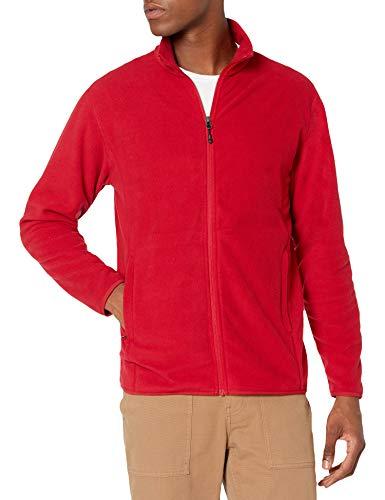 Amazon Essentials Herren Color Blocked Polar Full-Zip Mock Neck Jacke, Klassisches Rot, XL