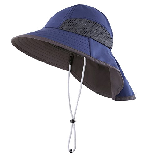 Connectyle Kids Summer Wide Brim UPF 50+ Mesh Sun Hats with Neck Flap UV Sun Protection Bucket Hat Navy