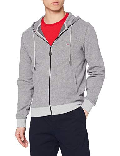 Tommy Hilfiger Herringbone Hooded Zip Through Suéter, Medium Grey Heather, L para Hombre