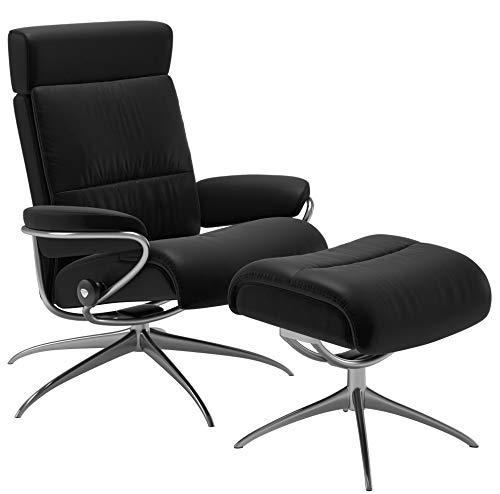 Stressless Sessel mit Hocker Tokyo Leder Batick schwarz, Low Back mit Kopfstütze standart Base Alu