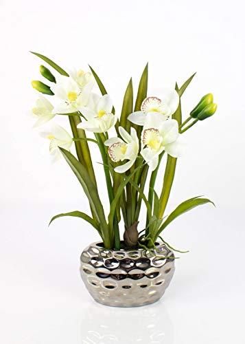 artplants.de Orchidea cymbidium Artificiale Nala in Vaso, 2 rametti, Crema-Bianco, 50cm - Orchidea Decorativa/Orchidea Ufficio