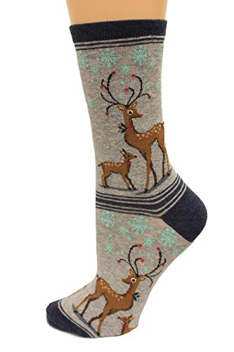 Hot Sox Women's Holiday Fun Novelty Crew Socks, Reindeers (Sweatshirt Grey Heather), Shoe Size: 4-10