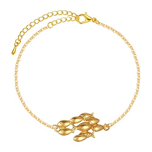 Swimming Against The Current Small Fish Bracelet Cute School of Fish Bracelet For Women Statement Jewelry Adjustable (Gold)