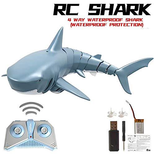FZTX-LPX Elektrisches Hai Spielzeug, RC Hai Fischboot U-Boot Mini Radio Fernbedienung Schwimmen Hai Elektronisches Badespielzeug Unterwasserhai Wasserspiel Spielzeug Kreative Geschenke Für Kinder