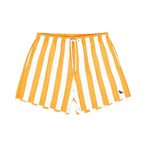 Dock & Bay Rayé Grand Extra Orange Séchage Rapide Short de Planche - Maillots de Bain pour Hommes fabriqués à partir de Bouteilles d'eau 100% recyclées