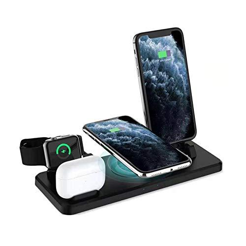 Rabbfay 6 en 1 Cargando Muelle, 360 ° Giratorio Inalámbrico Cargando Estación Compatible por Teléfonos Apple/Micro/Tipo C/Airpods, Qi Inalámbrico Cargando por iPhone 9/8/10/11,Negro