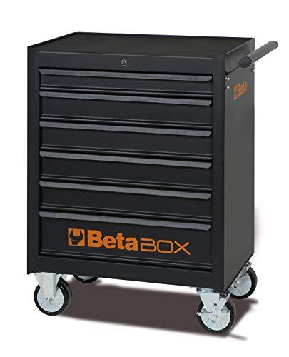 Beta C04BOX - Carrello Portautensili con ruote da 125 mm: 2 fisse e 2 girevoli ( due con freno ), 6 Cassetti estraibili con guida telescopica a sfera e tappetini in gomma espansa