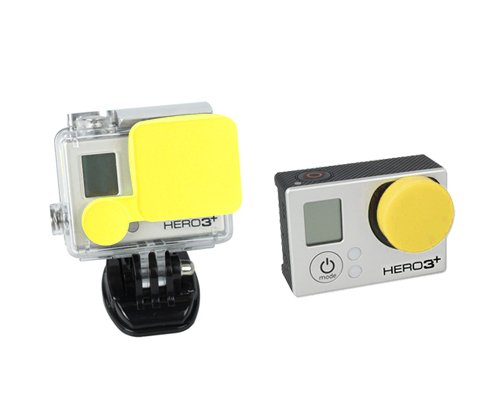 Bundle Set Protective Silicone Covers Lens Caps for GoPro Hero 3+, Hero 3 Plus, Hero 4 Camera and Housing - Yellow
