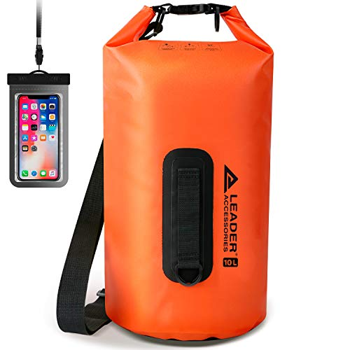 Leader Accessories New Waterproof PVC Dry Bag for Boating, Kayaking, Fishing, Rafting, Swimming, and Camping (Orange, 5L)