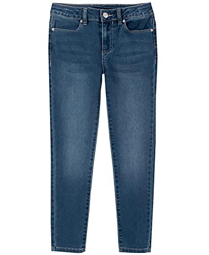 Calvin Klein Girls' Big Ultimate Jeans, Super Soft Stretch Denim, 5 Pockets & Zipper Closure, Skinny Frost, 7