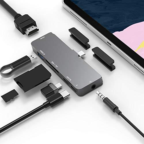 7-1 USB C ハブ iPad Pro 専用 2018 2020 /ipad air 4 ハブ Type-c hub 4K HDMI 出力 Thunderbolt/PD 充電/ USB3.0/ microSD/SD カードリーダー ポート3.5mm ヘッドホンジャック タイプ C HDMI 変換 アダプタ Mac/Macbook pro/SAMSUNG/Huawei Mate等対応