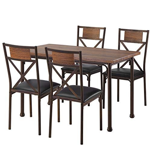 MaikcQ Wooden Dining Table with Matching Padded Chairs, 5-Piece Dining Set for Family (Brown)