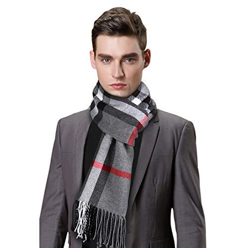 Jorlyen Sciarpa da Uomo - Morbidissima di lana di Cashmere Touch - Sciarpa Tartan da uomo - Sciarpa Scozzese a Quadretti con Confezione Regalo