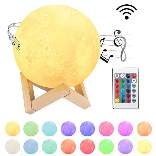 【Nueva generación】 Laelr Lámpara de luna inalámbrica, impreso en 3D 16 colores con altavoz Bluetooth USB recargable LED Lámpara de mesa de control táctil para niños Fiesta de cumpleaños de Navidad