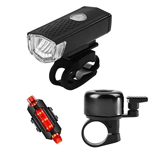 WANGQI LED Fahrradlicht Set Fahrradbeleuchtung LED MTB Fahrrad Frontscheinwerfer Nachtsicherheit Rücklicht Glockenset Stoß- und Regenfest2255 Schwarzes Frontlicht + 918 Rotes Rücklicht + Klingelset