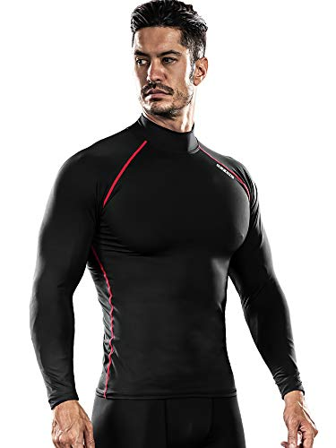 DRSKIN] Thermal Wintergear Fleece ColdGear Tight Thermal Compression Base Layer Long Sleeve Under top Shirts (HOT SBR06, L)