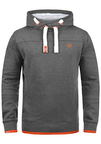 !Solid BenjaminHood Pile Herren Kapuzenpullover Hoodie Sweatshirt mit Teddy-Futter Meliert, Größe:M, Farbe:Gre M P (P8236)