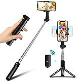 Bovon Palo Selfie Tripode, Mini Tripode para Movil, Compacto y Ultraligero Extensible Selfie Stick Bluetooth con Control Remoto Compatible con iPhone 12 Pro Max/12 Mini/11 Pro Max/11-4.5'-7.5'