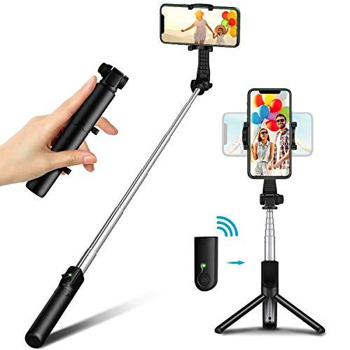 Bovon Bastone Selfie, Mini Treppiede Smartphone Compatto, Cavalletto per Smartphone da Viaggio Leggero con Telecomando, Compatibile con iPhone 12 PRO Max, 12 Mini, 11 PRO Max, Galaxy S20, S20+