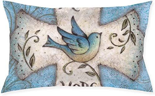 Just life Hope Love Funda de cojín Decorativa pequeña Religiosa para cojín Throw Pillow Cover Living Series Funda de Almohada Decorativa Diseño de Doble Cara 29,9'X 19,6'