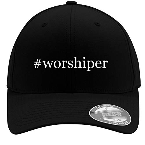 #Worshiper - Adult Men's Hashtag Flexfit Baseball Hat Cap, Black, Large/X-Large