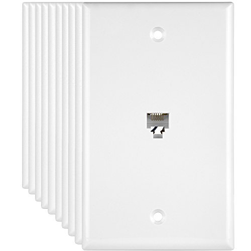 ENERLITES RJ11 Telephone Jack Wall Plate, 6-Position 6-Conductor 6P6C (2 Line Support), 1-Gang 4.50