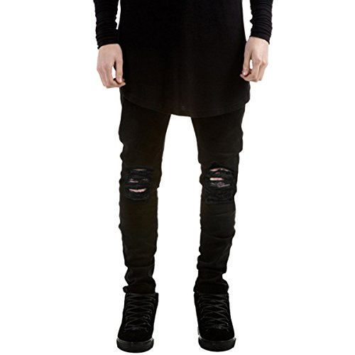 Pishon Men's Distressed Jeans Casual Solid Straight Leg Stretch Skinny Ripped Jeans, Black, Tag Size 28=US Size 29