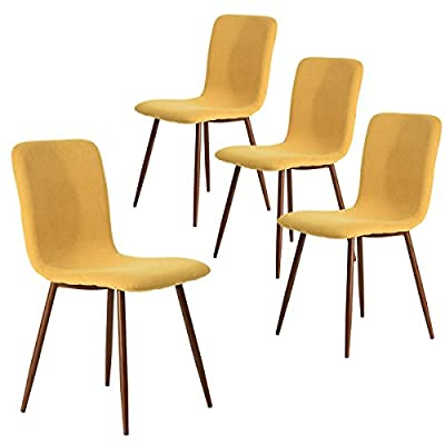 Coavas Dining Chairs Set of 4, Kitchen Chairs with Fabric Cushion Seat Back, Modern Mid Century Living Room Side Chairs with Sturdy Metal Legs for Kitchen Dining Room,Yellow - Best Chairs for your Home, Purchase for Family and Friends Now! COMFORTABLE & BREATHABLE - Wear proof thicken padding upholstered chair seat and back, Each bottom leg is equipped with an anti-scratches and anti-noise rubber pad to protect your floor. Set of 4 dining room chairs - STURDINESS & DURABILITY - 4 metal tube with wooden transfer legs, or paint it in a color you prefer. Sturdy X-shaped support to the seat, strong bearing strength, Maximum weight capacity: 250 lbs. Set of 4 dining room chairs - EASY TO ASSEMBLE - Assemble all 4 in 5 Minutes. The package of the kitchen chairs includes a detailed instruction manual and just 4 screws needed for an easy assembly. - kitchen-dining-room-furniture, kitchen-dining-room, kitchen-dining-room-chairs - 41cXiJjv7 L. SS400  -