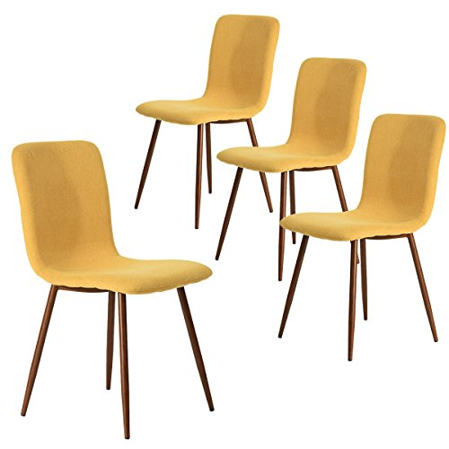 Coavas Dining Chairs Set of 4, Kitchen Chairs with Fabric Cushion Seat Back, Modern Mid Century Living Room Side Chairs with Sturdy Metal Legs for Kitchen Dining Room,Yellow