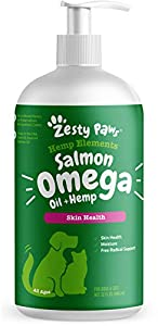Zesty Paws Salmon Omega Oil + Hemp for Dogs & Cats - with Wild Alaskan Salmon Oil - Omega 3 & 6 Fatty Acids with EPA & DHA for Pets - Supports Normal Skin Moisture & Immune System Function