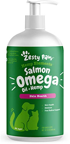 Zesty Paws Salmon Omega Oil + Hemp for Dogs & Cats - with Wild Alaskan Salmon Oil - Omega 3 & 6 Fatty Acids with EPA & DHA for Pets - Supports Normal Skin...