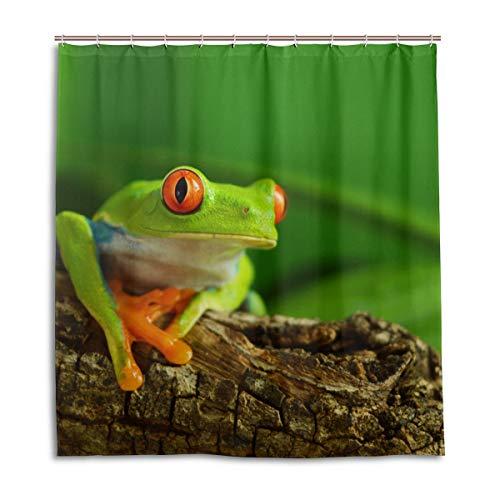 MyDaily Duschvorhang mit lustigem Baum Frosch, 167,6 x 182,9 cm, schimmelresistent & wasserdichte Polyester-Dekoration Badezimmer Vorhang