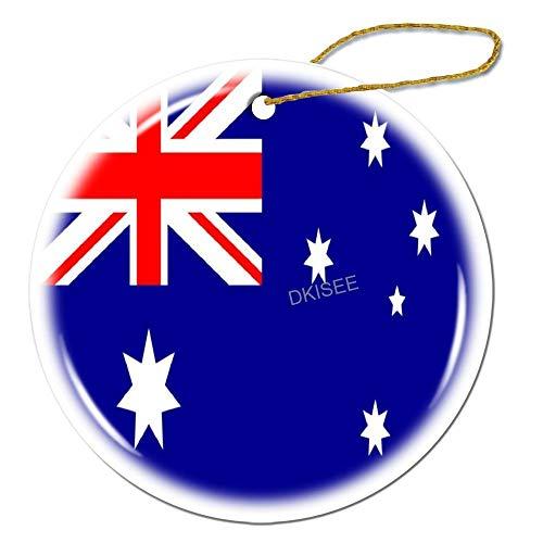 DKISEE - Adorno redondo de cerámica con bandera de Australia, decoración para árbol de Navidad, 3 pulgadas, Or111