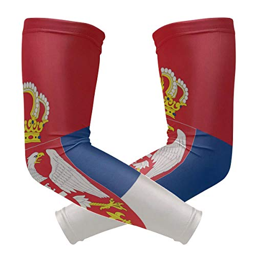 BJAMAJ Servische vlag UV bescherming Koeling Arm Mouwen Arm Cover Zon Bescherming voor Mannen & Vrouwen Jeugd Prestaties Stretch & Vocht Wicking