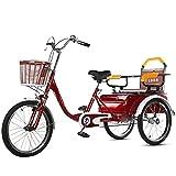 OHHG Triciclo Adultos Bicicleta Acero Alto Carbono Bicicleta Tres Ruedas Cesta Carga Triciclo Bicicleta Bicicleta Compras Picnic Deportes al Aire Libre Hombres Mujeres