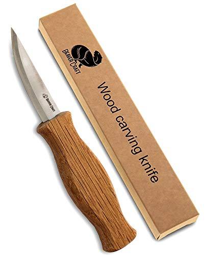 BeaverCraft C4 Schnitzwerkzeug für Holzbearbeitung aus kohlenstoffreichem Stahl für Anfänger und Professionelle Holzschnitzer von BeaverCraft Tranchiermesser mit ergonomischem Griff