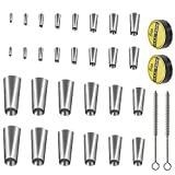 <span class='highlight'><span class='highlight'>Pulluo</span></span> 28Pcs Caulking Finisher Set with 14 Sizes Caulk Nozzle Applicator Includes Tape and Brushes Stainless Steel Sealant Caulking Tool for Kitchen Bathroom Tank Door Window Sink, Silver