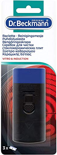 Dr. Beckmann - Raclette Plaque Vitrocéramique & Induction + 3 lames - Elimine les saletés tenaces et incrustées - Contient 2 lames de rechange - Lot de 2