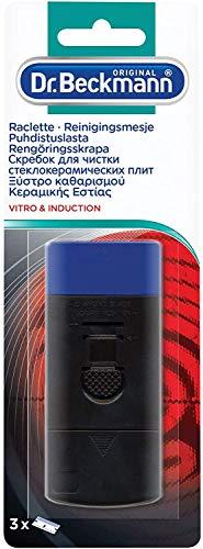 Dr. Beckmann - Rasqueta para placa de cerámica e inducción + 3 cuchillas - Elimina la suciedad persistente e incrustada - Contiene 2 cuchillas de repuesto