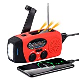 SFN Emergency Radio, Weather Radio Hand Crank Radio 2000mAh Emergency Hand Crank Radio Solar AM/FM NOAA Weather Radio with Battery Backup Cell Phone Charger for Home Camping