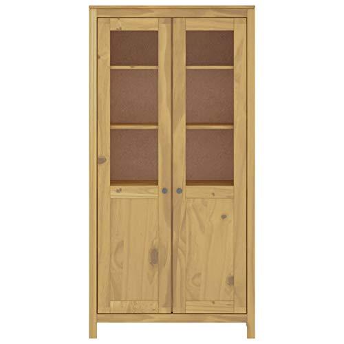 Tidyard Holz-Highboard Vitrine aus Massives Kiefernholz Mit 2 Türen mit Fenstern aus gehärtetem Glas,Aufbewahrungsschrank Geschirrschrank Küchenschrank 85 x 37 x 170,5 cm (B x T x H)