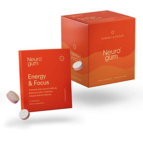 Neuro Gum Nootropic Cinnamon Flavor Energy Gum | Caffeine + L-theanine + B Vitamins | Sugar Free + Gluten Free + Non GMO + Vegan | CinnaMental Flavor (54 Count)