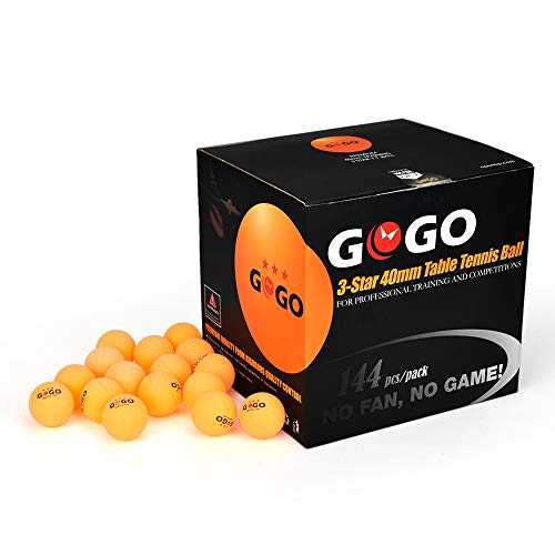 GOGO 144 Pieces 3-Star Ping Pong Balls Premium 40mm Seamless Table Tennis Balls-Orange