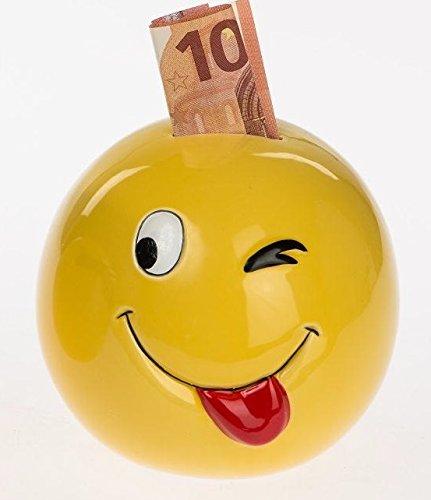 PDS Sparkasse, Spardose Sparschwein Emoji, Funny Face mit Brille oder blinzelnd (Blinzeln)