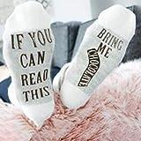 dfgjdryt Einzigartig Personalisiert Socken Brief Bedruckt Socken wenn Du Dieses Lesen Kannst Bring...