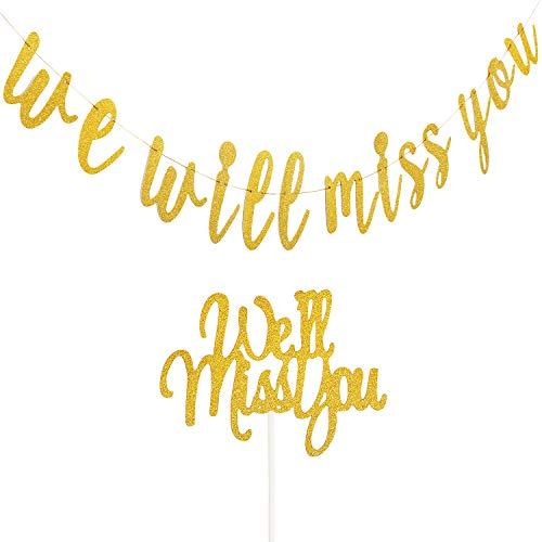 We Will Miss You Banner Gold Glitter Retirement Sign Farewell Banner with Cake Topper for Retirement Graduation Going Away Farewell Office Work Party Decorations