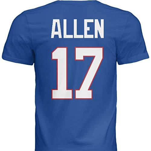 NWT New Allen #17 Buffalo Blue Custom Screen Printed Football T-Shirt Jersey No Brands/Logos Men's (2XL)