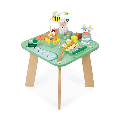 Janod- Table Jolie Prairie en Bois-Jouet d'Éveil avec 7 Activités pour Encastrer, Empiler, Manipuler-avec Labyrinthe, Boulier, Engrenage-Peinture à l'eau-Dès 12 Moi, J05327