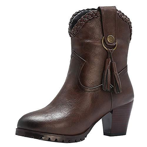 RAZAMAZA Damen Blockabsatz Cowboy Stiefel Pull On Kurze Stiefel Damen Quasten Western Boot Blockabsatz Stiefeletten Brown Große 46 Asian